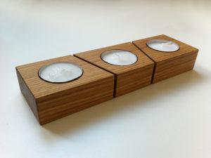 teelichthalter in eiche hell massivolz für drei Teelichter