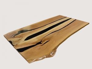 UNIKATTISCHPLATTE Schwarze Epoxidharz Tischplatte Holz
