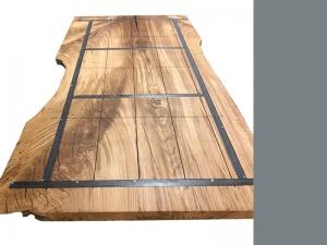 Unikattischplatte Eiche mit Baumkante-Rückseite